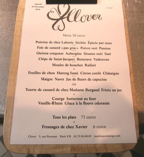 Clover Restaurant Menu